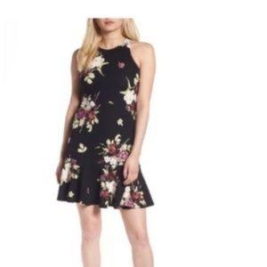 Leith Drop Waist Floral Print Peplum  Dress Sz Sm
